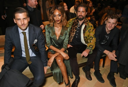 johannes-huebl-jourdan-dunn-jack-guinness-and-george-barnett-wearing-burberry-at-the-burberry-menswear-january-2016-show