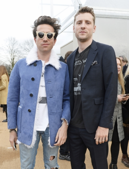 nick-grimshaw-and-george-barnett-wearing-burberry-at-the-burberry-menswear-january-2016-show