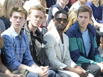 george-mackay-tom-felton-tinie-tempah-and-greg-james-at-the-burberry-prorsum-menswear-spring-summer-2015-show