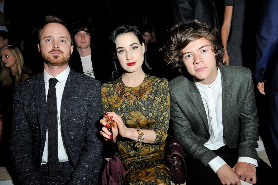 aaron-paul-dita-von-teese-and-harry-styles-at-the-burberry-prorsum-show