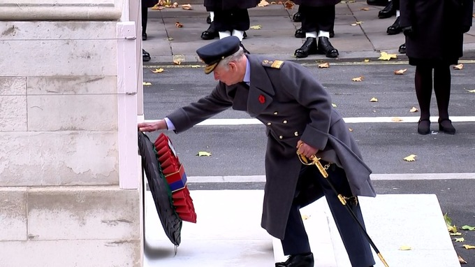 Prince Charles Lays The Queen's Wreath at the Cenotaph