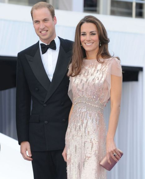 William and Kate. Kate in Jenny Packham Dress.