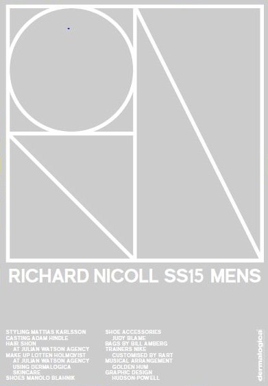 Richard Nicoll,London Collections,Men,Spring Summer,2015,Credit Sheet