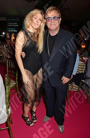 Ellie Goulding,Elton John,Aquazzura,Memphis bootie black mesh,Resort collection 2015