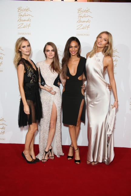 Poppy Delevingne, Joan Smalls and Karlie Kloss with Cara Delevingne, winner of Model of the Year at the British Fashion Awards in partnership with Swarovski (British Fashion Council)