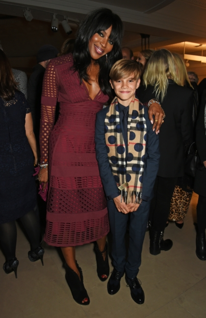 Naomi Campbell and Romeo Beckham wearing Burberry at the Festive Film Premiere