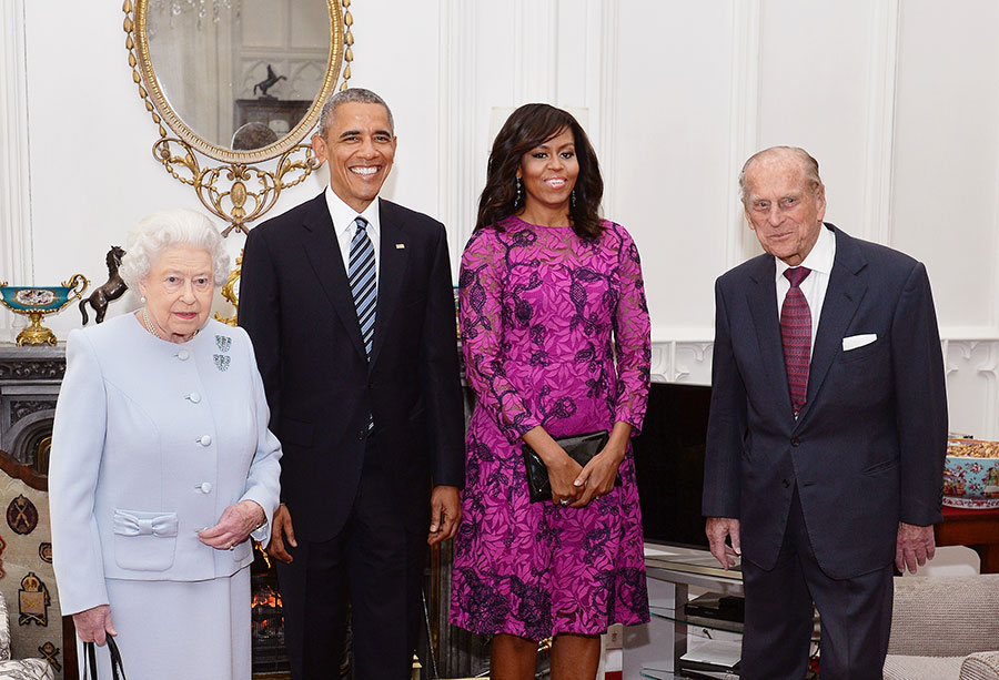 The Queen, & The Obama's Pose for Pictures Before Lunch