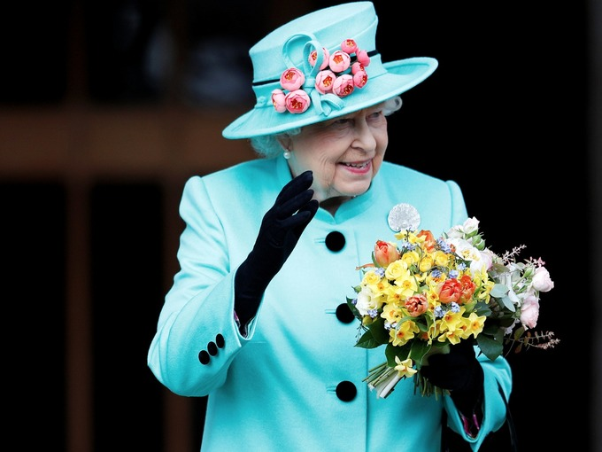 The Queen Leaves St Georges Chapel, Windsor On Easter Sunday 16th April 2017