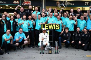 Lewis Celebrates With His Team After The Race
